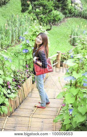 Portrait Asia Young Woman Happy And Smile On Doi Tung Garden, Dhiang Rai, Thailand