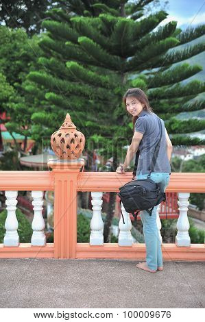 Portrait Asian Beautiful Young Woman On Terrace