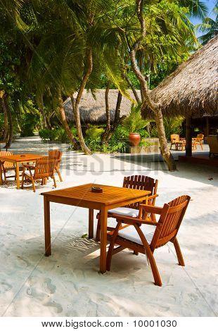 Cafe On The Beach Of Tropical Island