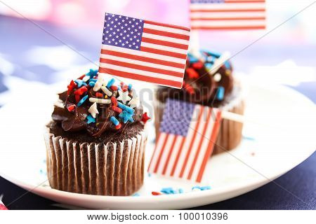 Chocolate cupcake with tricolor sprinkles