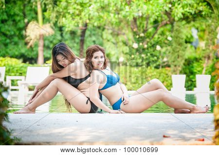 Portrait Two Asian Girls On Water Pool Border