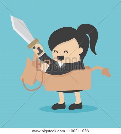 Businesswoman Riding The Toy Horse Have Sword