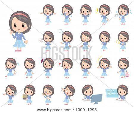 Blue Clothes Headband Girl