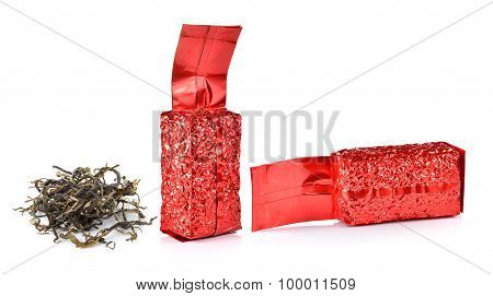 A Bag Of Tea Leaves On A White Background
