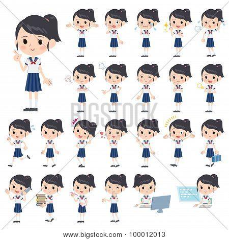 Schoolgirl Shortsleeved Shirt Sailor Suit