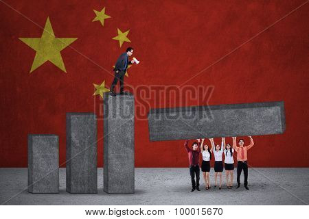 Businesspeople Build Graph With Chinese Flags