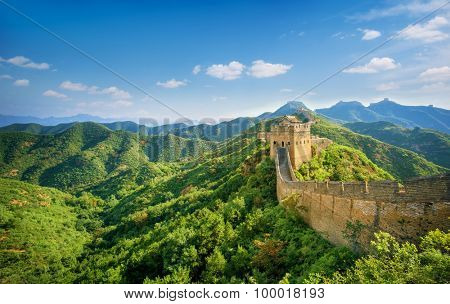 Great Wall of China at Sunny Day.