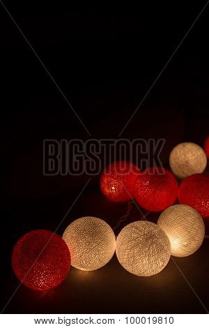 Colorful Light Cotton Ball String light red poster