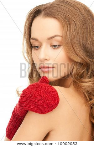 Beautiful Woman In Red Mittens