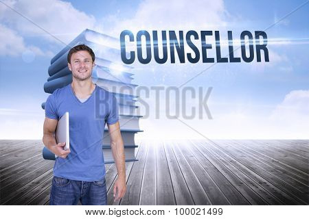 The word counsellor and smiling man with closed laptop against stack of books against sky
