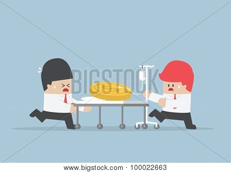 Two Businessmen With Dollars Coin On Hospital Bed