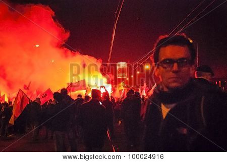 WARSAW POLAND - NOVEMBER 11: Protests and riots at night during polish Independence day in Warsaw in November 11 2014 poster