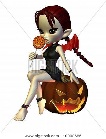Cute Toon Halloween Devil with Lollipop and Pumpkin