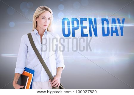 The word open day and mature student smiling against grey vignette