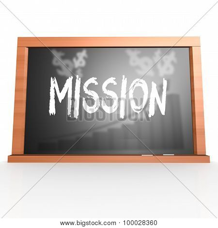 Black Board With Mission Word