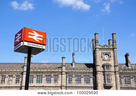Shrewsbury railway station and sign.