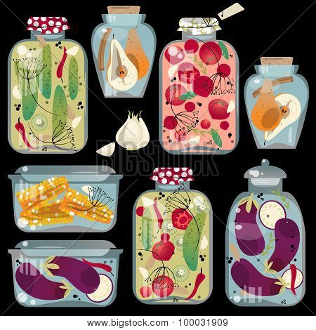 Glass Jars With Preserved Vegetables.