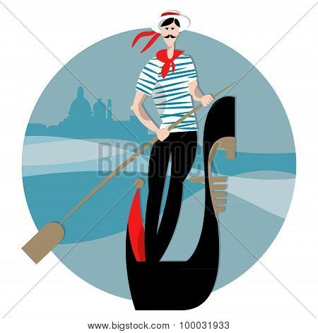 Gondola With Gondolier On A Canal In Venice.