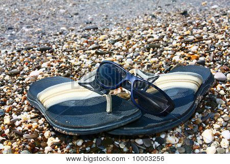 Beach Shoes  And Sunglasses