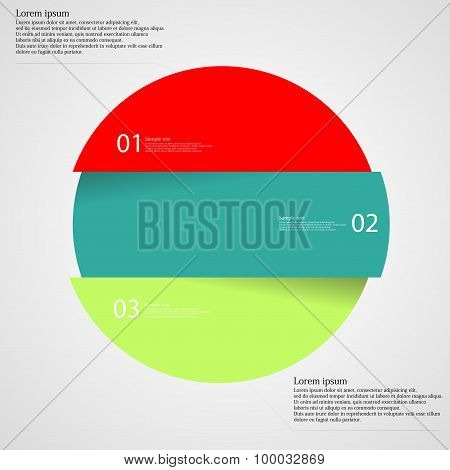 Illustration infographic with motif of colorful circle which is divided cut to three parts with unique number color and space for own customer text. Background is light. poster
