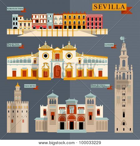 Sights Of Seville. Andalusia, Spain, Europe.
