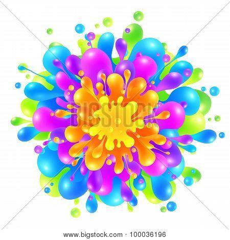 Rainbow colors paint splash on white background