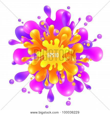 Pink and orange vector paint splash on white background