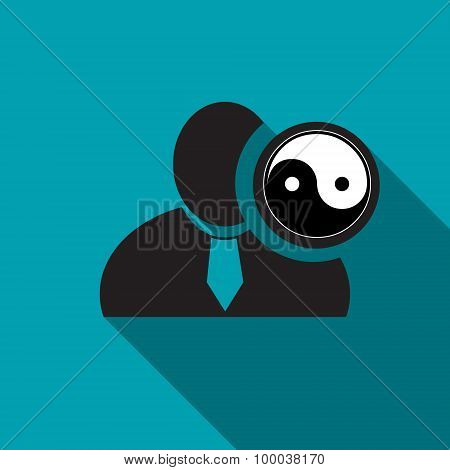 Yin yang black man silhouette icon on the blue background long shadow flat design icon for forums or web poster