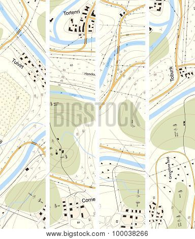 Set Vertical Banner Topographic Map Territory With Titles.