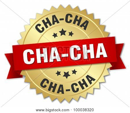 Cha-cha 3D Gold Badge With Red Ribbon