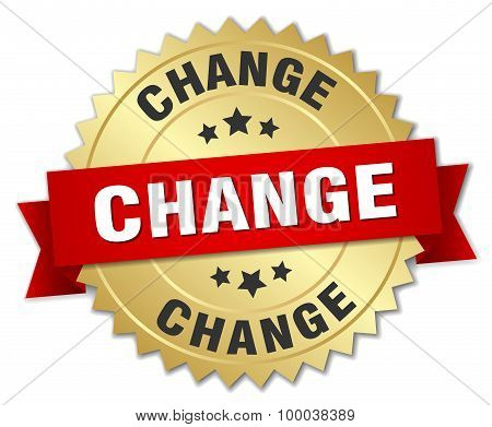 Change 3D Gold Badge With Red Ribbon