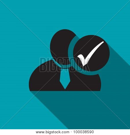 Check Mark Black Man Silhouette Icon On The Blue Background, Long Shadow Flat Design Icon For Forums