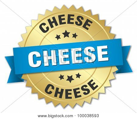 Cheese 3D Gold Badge With Blue Ribbon
