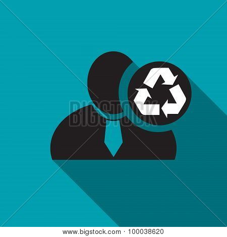 Recycle Black Man Silhouette Icon On The Blue Background, Long Shadow Flat Design Icon For Forums Or