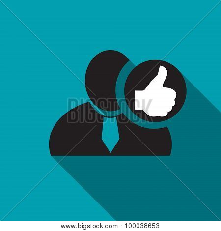 Thumb Up Black Man Silhouette Icon On The Blue Background, Long Shadow Flat Design Icon For Forums O