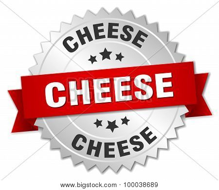 Cheese 3D Silver Badge With Red Ribbon