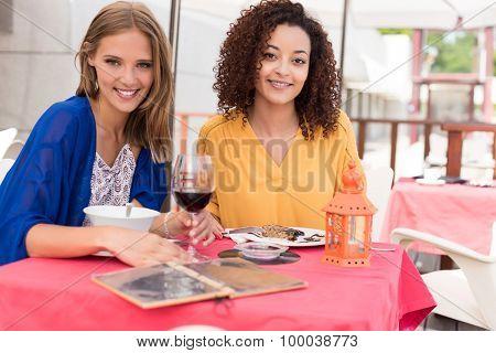 Multi-ethnic Friends At Bar's Balcony