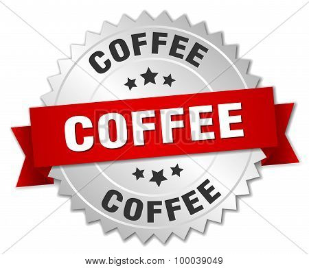 Coffee 3D Silver Badge With Red Ribbon