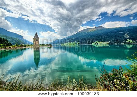 Bell Tower Of The Reschensee (resia) South Tyrol Italy