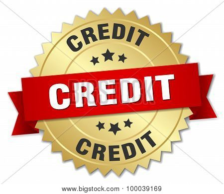 Credit 3D Gold Badge With Red Ribbon