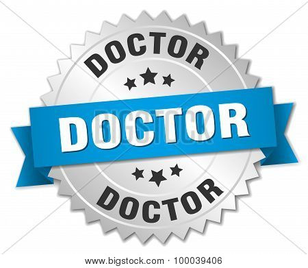 Doctor 3D Silver Badge With Blue Ribbon