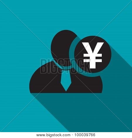 Japanese Yen Black Man Silhouette Icon On The Blue Background, Long Shadow Flat Design Icon For Foru