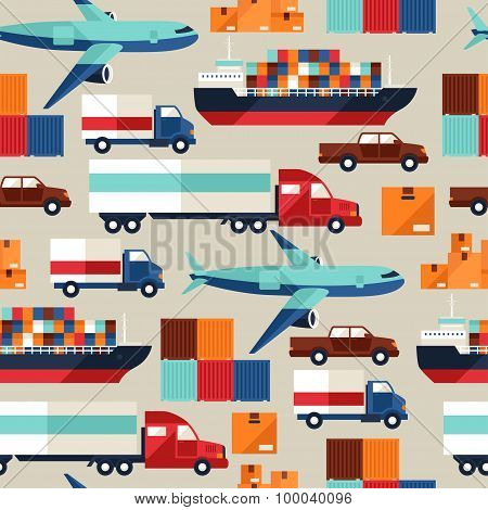 Freight cargo transport seamless pattern in flat design style