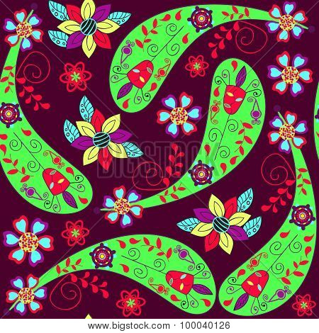 Odd Paisley Seamless Pattern And Seamless Pattern In Swatch Menu, Vector Image