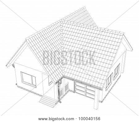 Vector cottage on the white background.