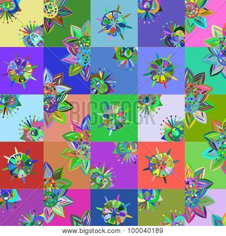 Abstract patchwork floral background vector illustration
