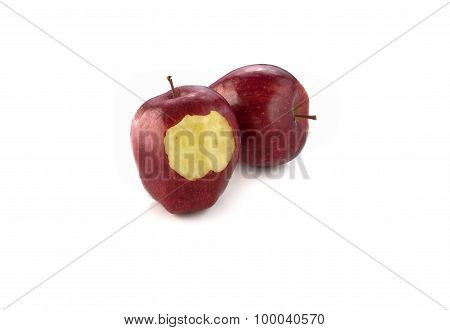 Two Red Apple On White Background.