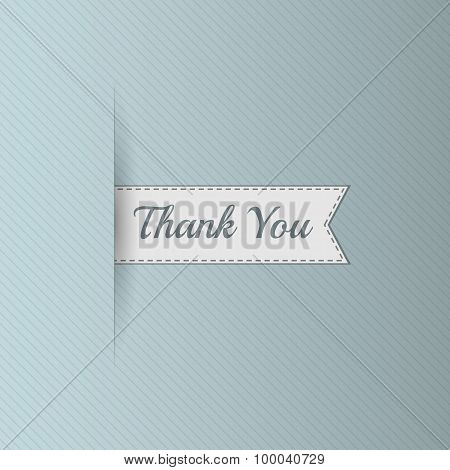 Realistic Ribbon with Thank You Text