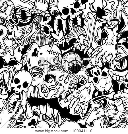 Seamless halloween pattern with horror elements