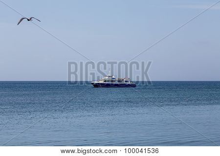 Blue And White Fishing Boat Morred On Sea